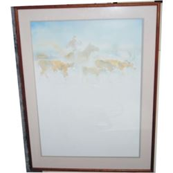 nicely framed water color print