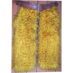 very nice gold angora step in chaps