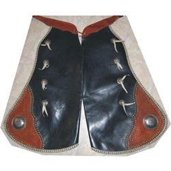Colo. Saddlery batwing chaps with corner tooling and silver conchos