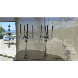2 Crystal and Chrome Candelabras (Holds 4 Candles Each)