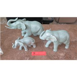 3 Glazed Ceramic Elephants, Varying Size