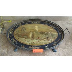 "Large Painted Tray w/Metal Rim & Clawfoot Base, Approx.  24"" X 17.5"""