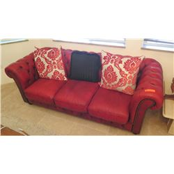 Red Leather Sofa w/Tufted Backrest/Armrest
