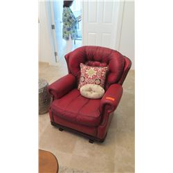 Plush Red Leather Arm Chair w/Tufted Backrest