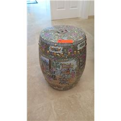 "Chinese Painted Porcelain Garden Stool/Stand, 18"" H, 11"" Top Dia."