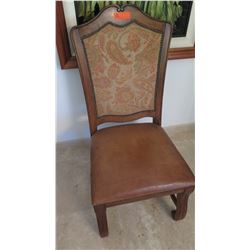 Wooden Chair w/ Leather Seat & Tapestry Backrest