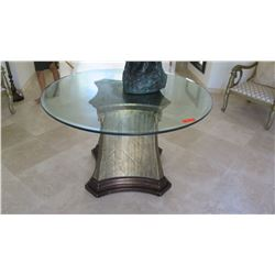 "Round Glass Top Table on Marble-Topped Pedestal w/Ram Embellishments, Approx 4' Dia., 30"" H"