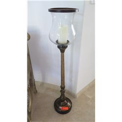Standing Candle Holder with Hurricane Glass Globe