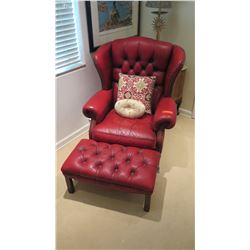 Tufted Red Leather Armchair & Ottoman