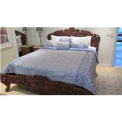 King Size Ornate Carved Wooden Bed (sheets/comforter/pillows not included)