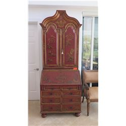Painted Chinoiserie Secretary w/Cabinet