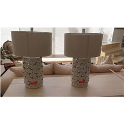 Pair: Ceramic Flower Cut-Out Table Lamps