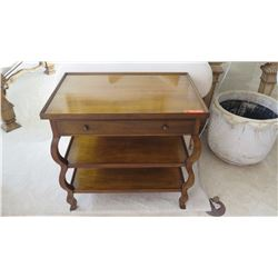 "Wood End Table w/Drawer & Lower Shelves, by Baker, Approx. 2'5"" W"