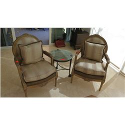 Pair: Louis XVI Style Carved Wooden Upholstered Chairs