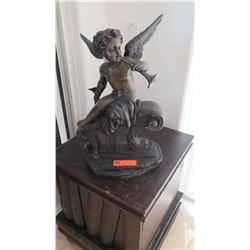 "Renaissance Cherub Playing w/Horn, Bronze Cast? Approx. 20"" H"