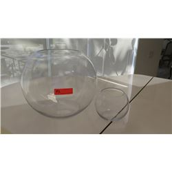 2 Rounded Glass Globe Vases (Sml & Lrg)