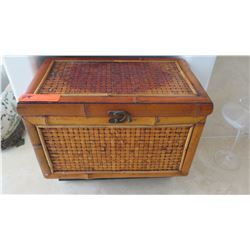 "Small Woven Bamboo Trunk, Approx. 17.5"" W, 11"" H"