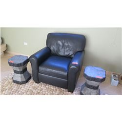 """Black Leather Arm Chair, Approx. 35"""" Depth, 33"""" Width"""