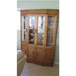 Tall China Cabinet w/Woven Rattan & Carved Bamboo Trim