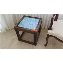 """Square Wood Stone-Topped Side Table, Approx. 15"""" W"""