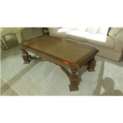 Wood Coffee Table Approx 5' w/Intricately Carved Base