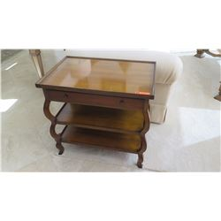 """Wood End Table w/Drawer & Lower Shelves, by Baker, Approx. 2'5"""" W"""