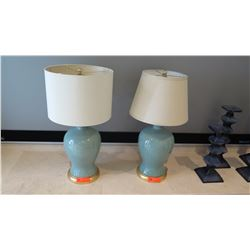 Pair: Blue Ceramic Table Lamps w/ Mismatched Shades
