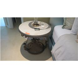"""Side Table - Iron Base w/Faux Croc Top & Scrolled Metal Base, Approx. 27"""" Dia."""