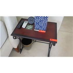 Side Table w/ Scrolled Iron Base