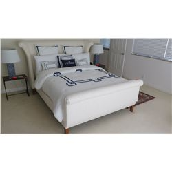White Upholstered Sleigh Bed (sheets, coverlet, pillows not included)
