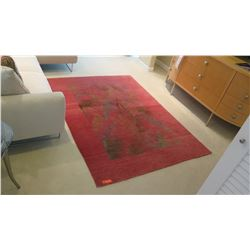 Red Hand-Carded & Knotted Woolen/Silk Rug, Palm Leaf Design, 5' X 7'