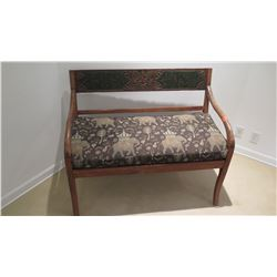"""Rustic Carved Painted Wooden Bench w/ Padded Seat, Approx 3' 5"""" W"""