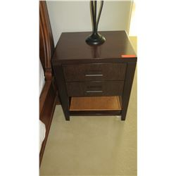 Pair: Wooden Side Tables w/Drawers & Cane Rattan Undershelf