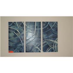 3 Abstract Glazed Painted Blue Canvas Triptych