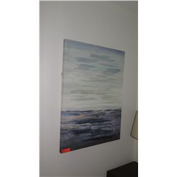 Abstract Painting on Stretched Canvas (Ocean/Sky), 29.5 X 39.5