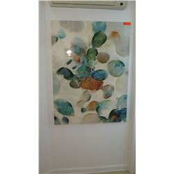 Framed Abstract Painting, Multihued Glazed Canvas, 47X36