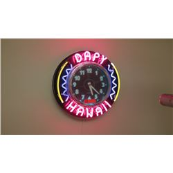 "Neon ""Dapy Hawaii"" Wall Clock"
