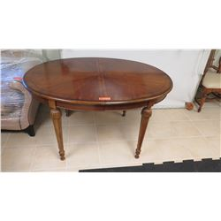 Round Wood Inlay Table w/ Carved Tapered Legs
