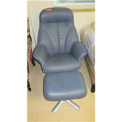 Contemporary Blue Leather Chair with Ottoman (shows some wear and age)