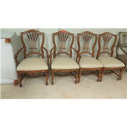 4 Matching Hardwood Chairs with Upholstered Seats, Carved Detail