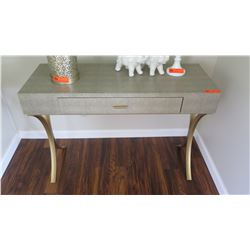 Modern Foyer Table, Faux Leather Wrap, Brushed Metal Accents, 42X16X30H