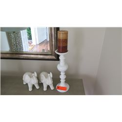 "White Ceramic Pillar Candle Holder (14""H) & 2 Two White Ceramic Elephants"