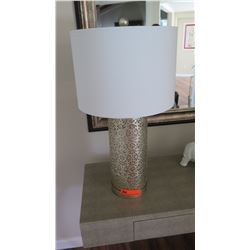 "Filigree Metal Cylinder Table Lamp, 25.5"" Tall"