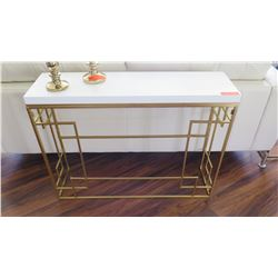 Modern Console Table w/ Geometric Gold Metal Base, White Top, 39X11X29H