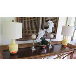 """Pair of Cream Opaque Glass Table Lamps, 23""""H"""