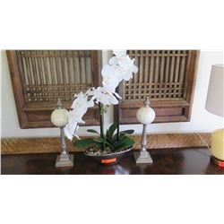 """Decorative Ivory Orb Pedestals and Potted Faux Orchid Plant, 16.5""""H"""