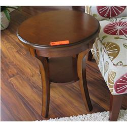 """Round Wooden Side Table, 22.5"""" Dia. 18"""" H"""