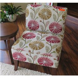 "Slipper Chair - White w/ Floral Print, 25.5X25.5 (Seat Ht. 17"", Backrest Ht. ""33)"
