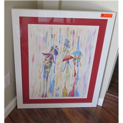 Framed Abstract Watercolor Print, Signed A. Macky?, 29X37