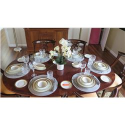 Noritake China w/Gold Border (Japan), Flatware & Crystal Beverageware, 6 Place Settings